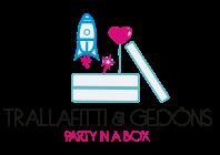 Logo von Trallafitti und Gedöns bestehend aus Schriftzug in Schwarz und Pink und einer Partybox aus der Eine Rakete und ein Herzluftballon hervorsteigen.