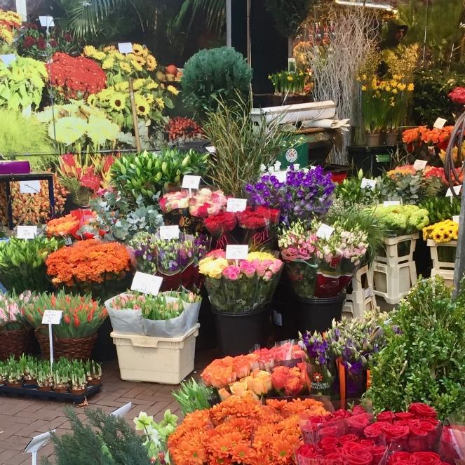 Ein Bild vom Blumenmarkt in Amsterdam mit vielen verschiedenen Blumensträußen, die zum Kauf angeboten werden. Tulpen, Rosen und viele mehr in allen erdenklichen Farben.