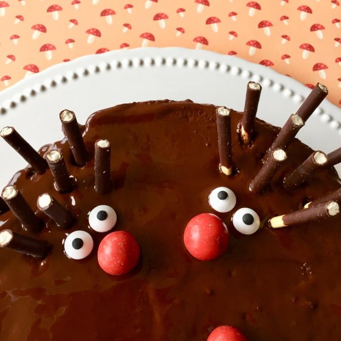 Bildausschnitt eines Schokoladen-Nuss-Kuchens mit zwei Igeln, die aus M und Ms für die Nase, Zuckeraugen und Micadostäbchen für die Stacheln dekoriert wurden auf einer weißen Tortenplatte auf einem Untergrund mit aufgedruckten Pilzen.