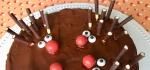 Bildausschnitt eines Schoko-Nuss-Kuchens mit kleinen Igeln, die aus M und Ms für die Nase, Zuckeraugen und Micadostäben für die Stacheln gestaltet wurden auf einer weißen Tortenplatte.